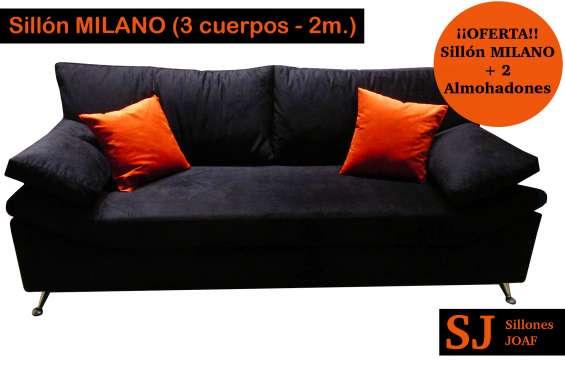 Largo 2 metros, con almohadones desmontable y cierre, patas metálicas, colores a elección.
