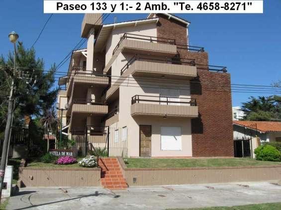 Villa gesell, paseo 133 y 1:--2 ambientes, 4 plazas, parque y quincho temporada 2020, solo